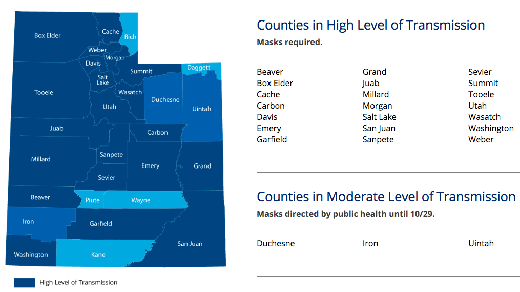 map from the state's coronavirus website showing San Juan as one of 21 counties with new restrictions