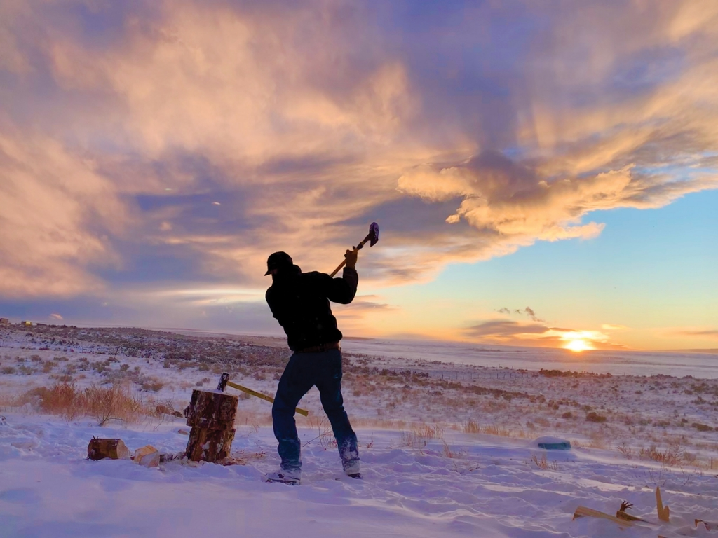 Splitting wood on a cold winter day.  Adriann Crater photo