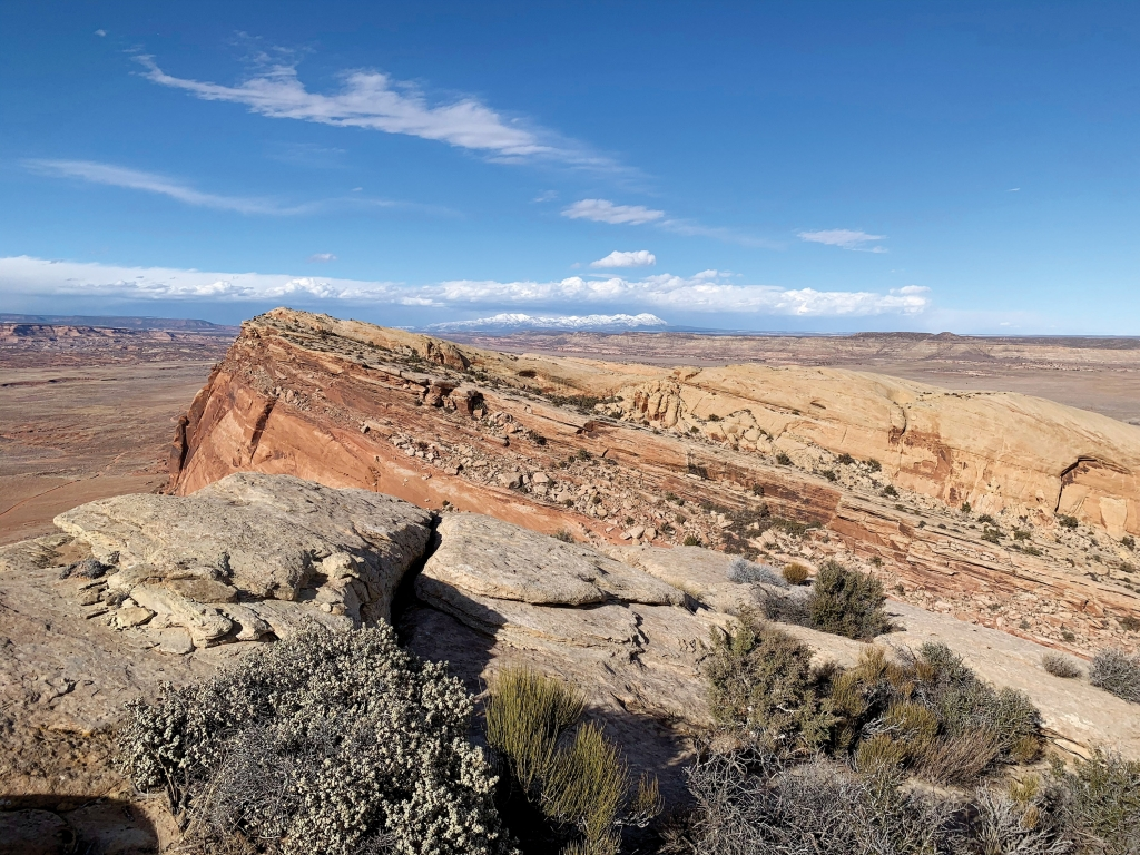 Comb Ridge and the Abajo Mountains on a spring day in San Juan County.  Chris Jolley photo