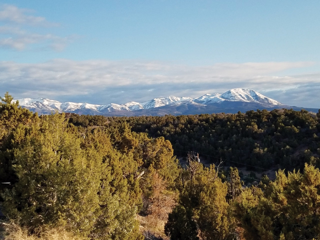 Views from porches in San Juan County are tough to beat, including this beautiful view of the snow-capped Blue Mountains.  David Lacy photo