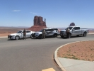 "Law enforcement vehicles in Monument Valley as part of a recent ""Click It or Ticket"" campaign"